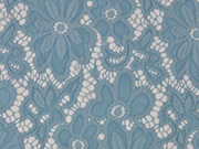 RESTSTÜCK 70 cm elastische Spitze Blumen Meterware- hellblau