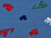 Jersey bunte Fahrzeuge, jeansblau