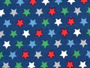 RESTSTÜCK 35 cm Jersey bunte Sterne, dunkelblau