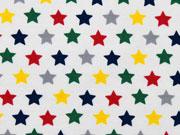 Jersey bunte Sterne, weiss
