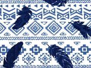 Reststück 52cm Jersey Ethnomuster & Federn, indigoblau auf weiß