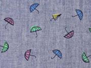 Reststück 80cm Chambray bunte Regenschirme, blau melange