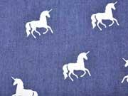 RESTSTÜCK 53 cm Softshell Jeans Look Einhorn, weiss auf jeansblau