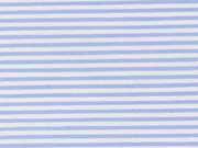 RESTSTÜCK 43 cm Stretchbaumwolle Streifen, hellblau-weiß
