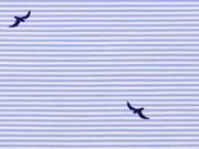 RESTSTÜCK 35 cm Stretchbaumwolle Streifen & Schwalben, bleu weiß