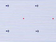 RESTSTÜCK 26 CM Stretchbaumwolle Streifen & Anker, bleu weiß