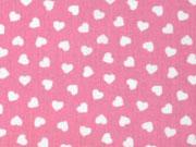 Baumwolle kleine Herzen, weiß auf rosa