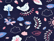RESTSTÜCK 60 cm Jersey Vögel & Blumen, coralle dunkelblau