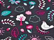 RESTSTÜCK 27 cm Jersey Vögel & Blumen, pink dunkelgrau
