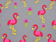 Reststück 75cm Jersey Flamingos , pink grau
