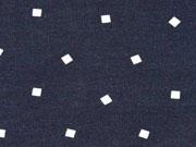 Jersey kleine Quadrate, weiss / dunkelblau
