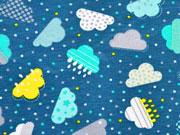 gepunkteter Jersey Wolken, bunt perlenzian