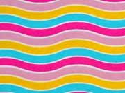 Jersey bunte Wellen, pink/gelb