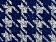 Fransenstrick Hahnentritt, dunkelblau