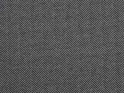 Jacquard Jersey Fischgrät, grau schwarz