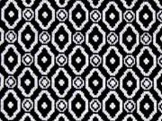 RESTSTÜCK 65cm Jacquard Jersey kleine Ornamente, schwarz/weiß