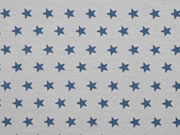 Jersey Sterne, jeansblau auf grau