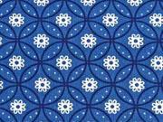 Baumwolle Blumen & Kringel, indigoblau