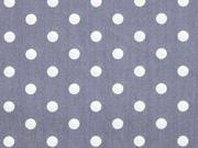 Baumwolle Punkte 7 mm, weiss grau (bläulich)