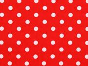 Baumwolle Punkte 7 mm, weiss rot