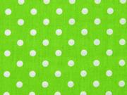 Baumwolle Punkte 7 mm, weiss hellgrün