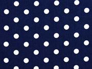 Baumwolle Punkte 7 mm, weiss dunkelblau