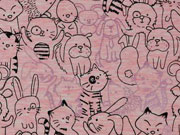 Jersey Doodle Tiere mit Glitzer, rosa