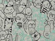 RESTSTÜCK 42 cm Jersey Doodle Tiere mit Glitzer, mint