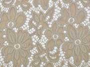 elastischer Spitzenstoff Blumen Meterware, beige