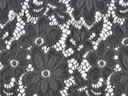 elastische Spitze Blumen Meterware- dunkelgrau
