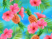 Jersey Digitaldruck Hibiskus & Ananas, türkis