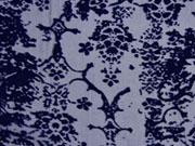 transparente Viskose Samtdruck Blumen, dunkelblau