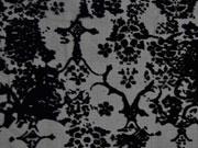 transparente Viskose Samtdruck Blumen, schwarz
