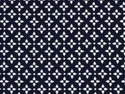 elastischer Jacquard Kreuzblume, nachtblau weiss