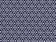 elastischer Jacquard Ornamente, nachtblau-weiss