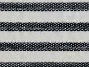 RESTSTÜCK 112 cm Strukturjersey Glitzerstreifen, ecrue schwarz