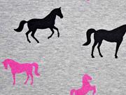 angerauter Sweat Glitzer Pferde, pink grau melange