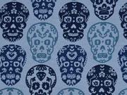 Jersey Totenköpfe, jeansblau