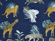 Jerseystoff Giraffen Leoparden Elefanten, ockergelb dunkelblau