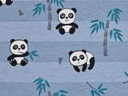 RESTSTÜCK 32 cm Jersey Blockstreifen Pandabären, jeansblau