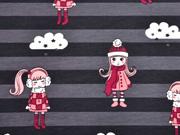 Streifenjersey Mädchen mit Pudelmütze, dunkelgrau