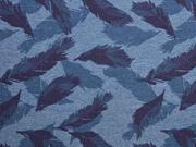 Jersey Federn, blau melange
