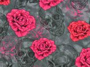 Jersey Digitaldruck Rosen Totenköpfe, pink dunkelgrau