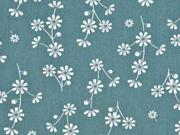 Baumwolle Blumen, dunkelmint