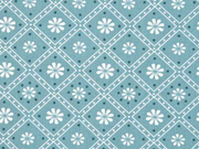 Baumwolle Blumen Quadrate Punkte, dunkelmint