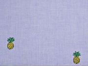 gestreifter Baumwollstoff bestickt Ananas