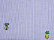 RESTSTÜCK 50 cm gestreifter Baumwollstoff bestickt Ananas