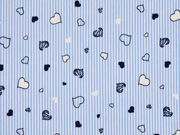 Baumwolle Stretch Streifen & Herzen, hellblau