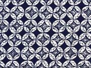 Baumwollsatin Kreise Rauten, dunkelblau