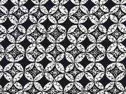 Baumwollsatin Kreise Rauten, schwarz